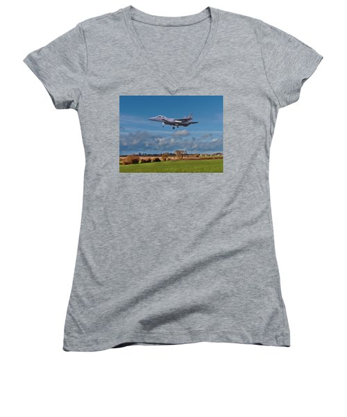 Women's V-Neck T-Shirt (Junior Cut) featuring the photograph Eagle On Finals by Paul Gulliver