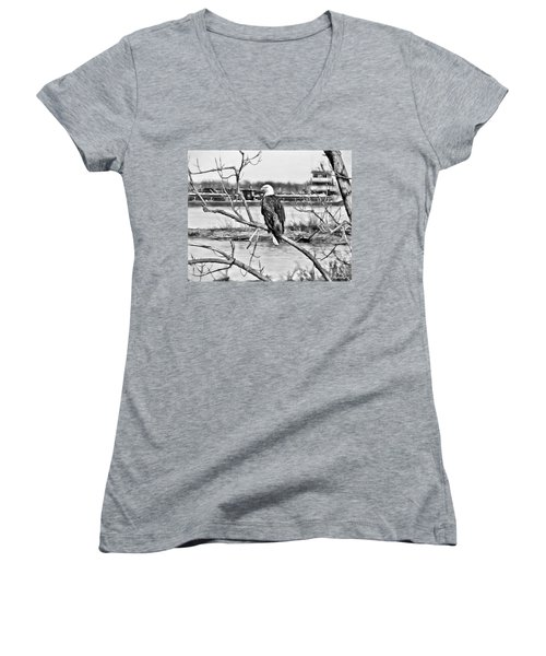 Eagle On The Illinois River Women's V-Neck (Athletic Fit)