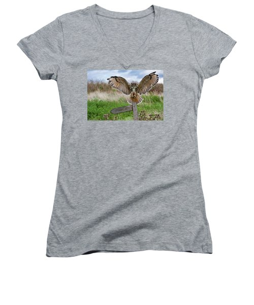 Eagle Owl On Signpost Women's V-Neck