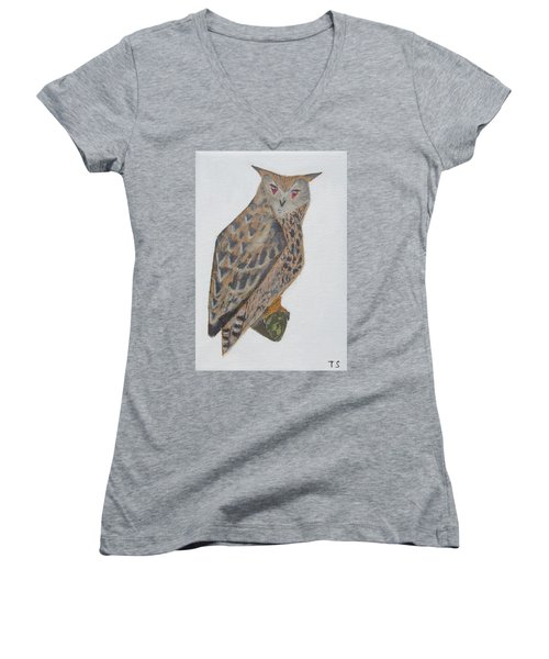Eagle Owl Women's V-Neck T-Shirt (Junior Cut) by Tamara Savchenko