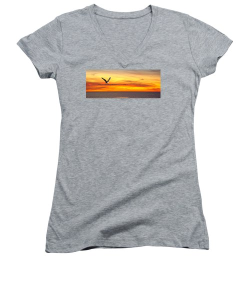 Eagle Panorama Sunset Women's V-Neck T-Shirt (Junior Cut) by Randall Branham