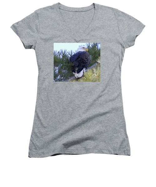 Eagle Portrait Women's V-Neck T-Shirt (Junior Cut) by Brook Burling