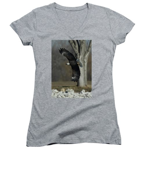 Eagle Soaring By Tree Women's V-Neck T-Shirt (Junior Cut)
