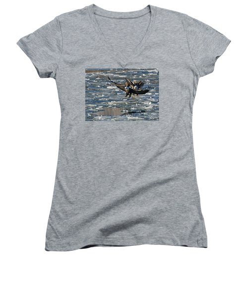 Eagles On Ice Women's V-Neck T-Shirt