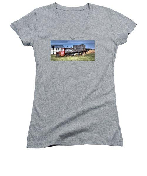 Women's V-Neck T-Shirt (Junior Cut) featuring the photograph Earl Latsha Lumber Company - Version 1 by Shelley Neff