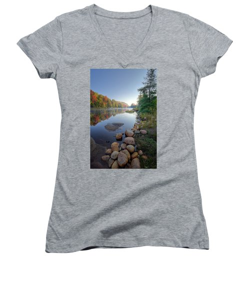 Women's V-Neck T-Shirt featuring the photograph Early Color On Bald Mountain Pond by David Patterson
