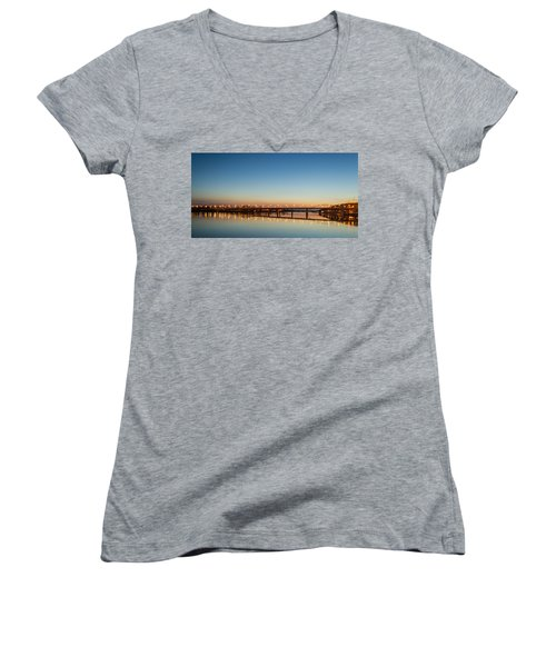 Early Evening Bridge At Sunset Women's V-Neck