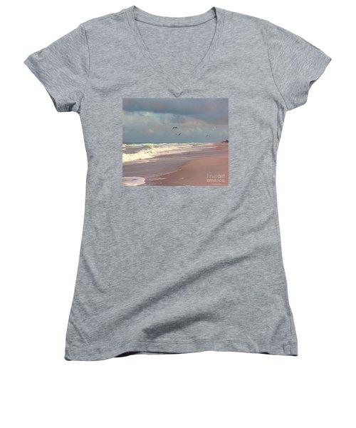 Early Evening Women's V-Neck T-Shirt (Junior Cut) by Megan Dirsa-DuBois