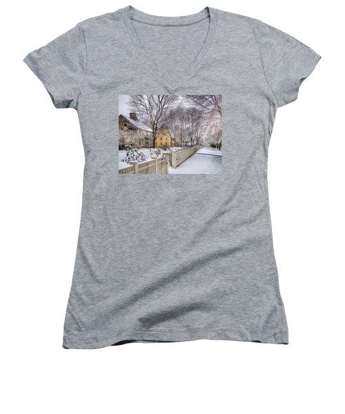 Early Massachusetts Women's V-Neck T-Shirt (Junior Cut) by Betsy Zimmerli