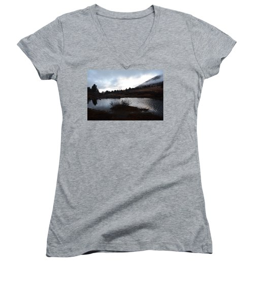 Women's V-Neck T-Shirt (Junior Cut) featuring the photograph Early Morning At Favre Lake by Jenessa Rahn