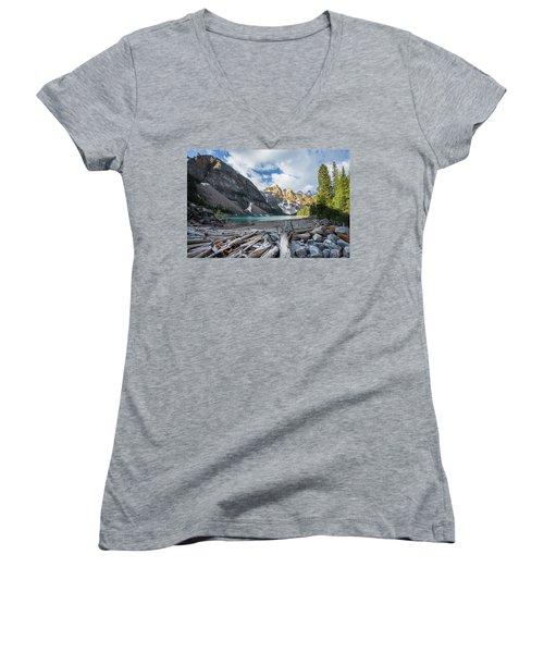 Early Morning At Moraine Lake Women's V-Neck T-Shirt