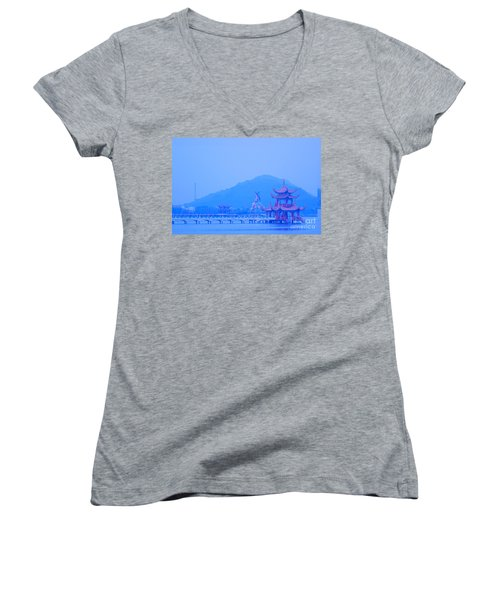 Women's V-Neck T-Shirt (Junior Cut) featuring the photograph Early Morning At The Lotus Lake by Yali Shi