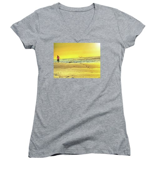 Early Morning Beach Walk Women's V-Neck (Athletic Fit)