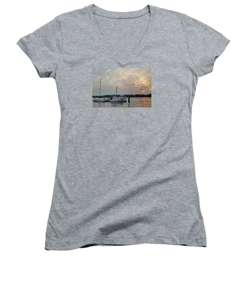 Early Morning Calm Women's V-Neck T-Shirt (Junior Cut) by Suzy Piatt