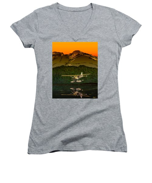 Early Morning Glass Women's V-Neck T-Shirt (Junior Cut) by J Griff Griffin