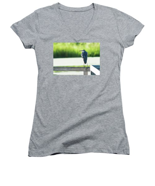 Early Morning Great Blue Heron Women's V-Neck T-Shirt
