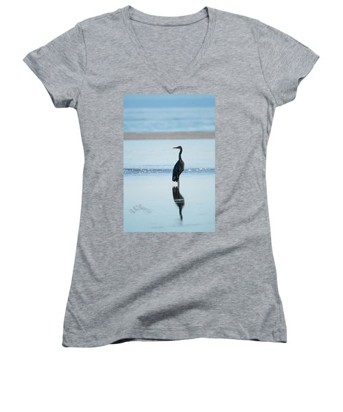 Early Morning Heron Women's V-Neck (Athletic Fit)