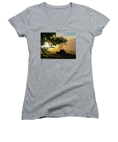 Women's V-Neck T-Shirt featuring the photograph Early Morning In Watsonville by Lora Lee Chapman