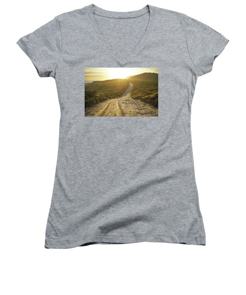 Early Morning Light On 4wd Sand Track Women's V-Neck (Athletic Fit)