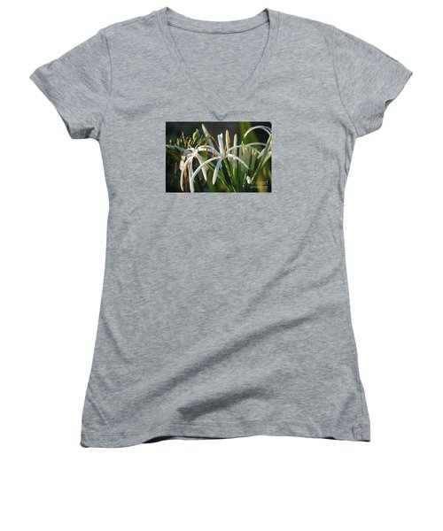 Early Morning Lily Women's V-Neck T-Shirt (Junior Cut) by LeeAnn Kendall