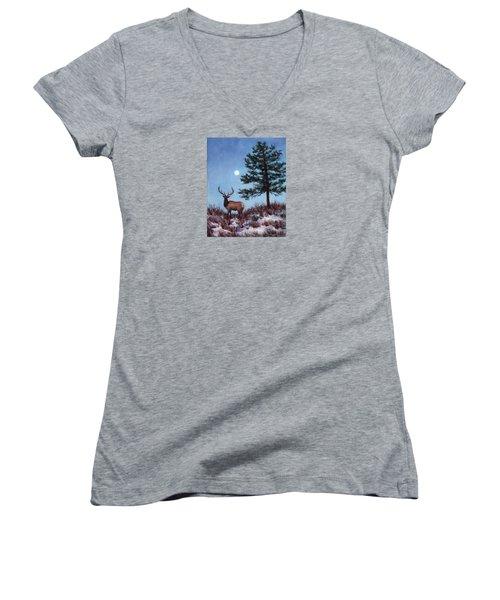 Early Morning Moon Women's V-Neck T-Shirt (Junior Cut)