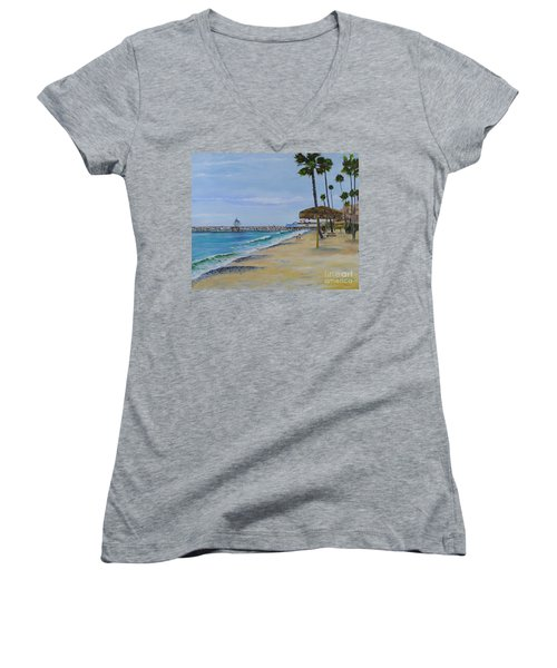 Early Morning On The Beach Women's V-Neck