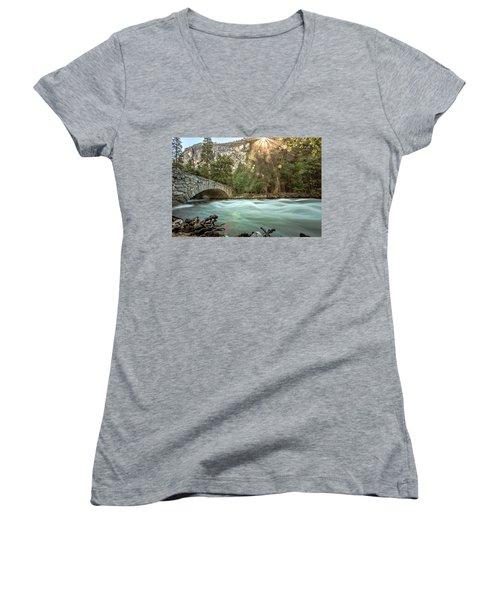 Early Morning On The Merced River Women's V-Neck T-Shirt