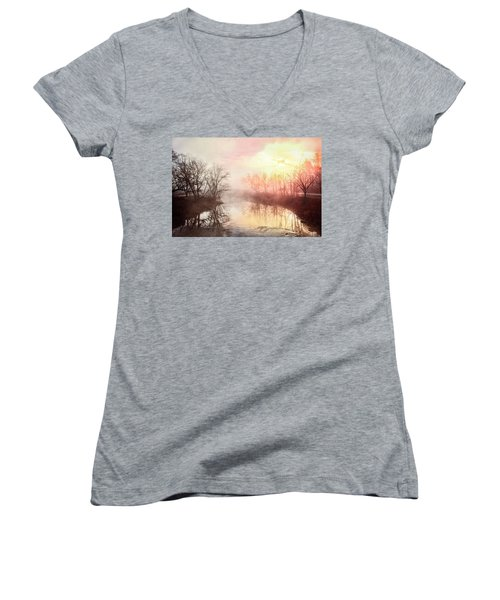 Women's V-Neck T-Shirt (Junior Cut) featuring the photograph Early Morning On The River by Debra and Dave Vanderlaan