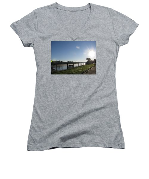 Early Morning On The Savannah River Women's V-Neck T-Shirt (Junior Cut) by Donna Brown
