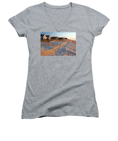 Early Morning On The Shore Women's V-Neck T-Shirt (Junior Cut) by James Kirkikis