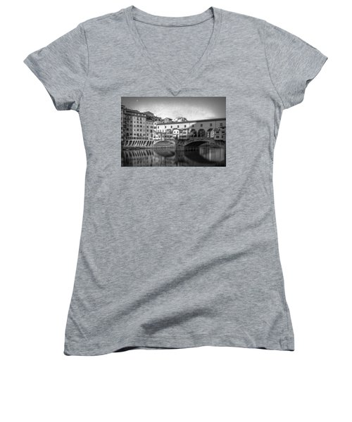 Women's V-Neck T-Shirt (Junior Cut) featuring the photograph Early Morning Ponte Vecchio Florence Italy by Joan Carroll