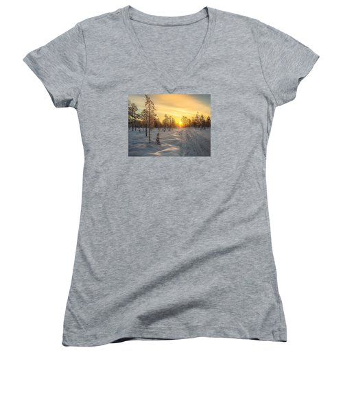 Early Morning Sun Women's V-Neck T-Shirt (Junior Cut) by Rose-Maries Pictures