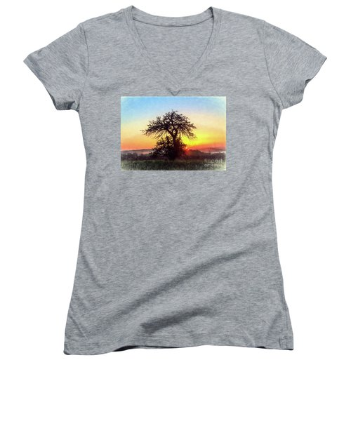 Women's V-Neck T-Shirt (Junior Cut) featuring the photograph Early Morning Sunrise by Jim Lepard