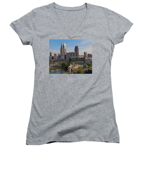 Early Morning Transport On The Cuyahoga River Women's V-Neck