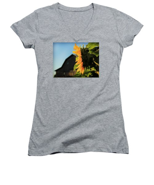 Women's V-Neck T-Shirt (Junior Cut) featuring the photograph Early One Morning by Chris Berry
