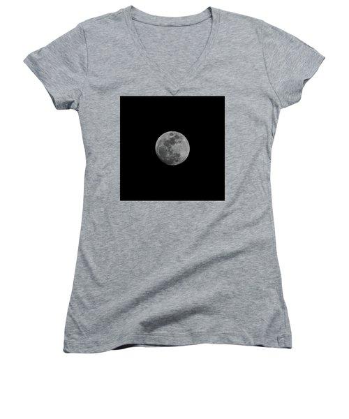 Early Spring Moon 2017 Women's V-Neck T-Shirt (Junior Cut) by Jason Coward