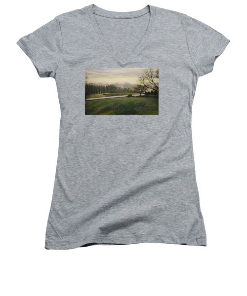 Women's V-Neck T-Shirt (Junior Cut) featuring the painting Early Spring On Ernie Lane by Ron Richard Baviello
