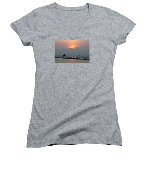 Women's V-Neck T-Shirt (Junior Cut) featuring the photograph Early Sunset Over The Gazebo by Robert Banach