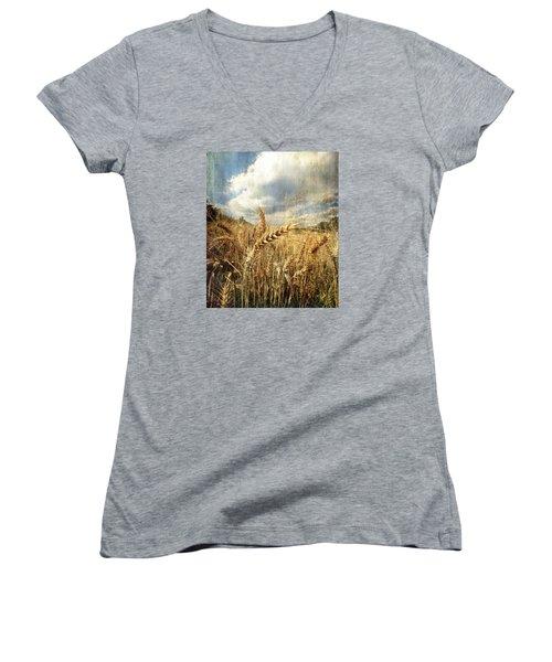 Ears Of Corn Women's V-Neck T-Shirt (Junior Cut) by Vittorio Chiampan