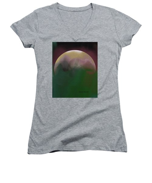 Earth And Moon Women's V-Neck T-Shirt
