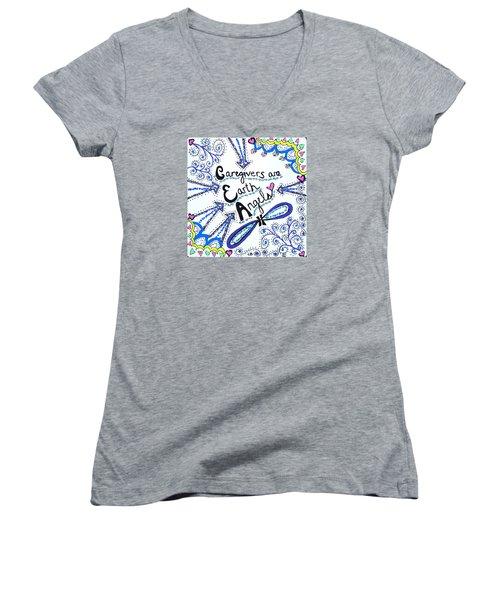 Earth Angel Women's V-Neck T-Shirt (Junior Cut) by Carole Brecht