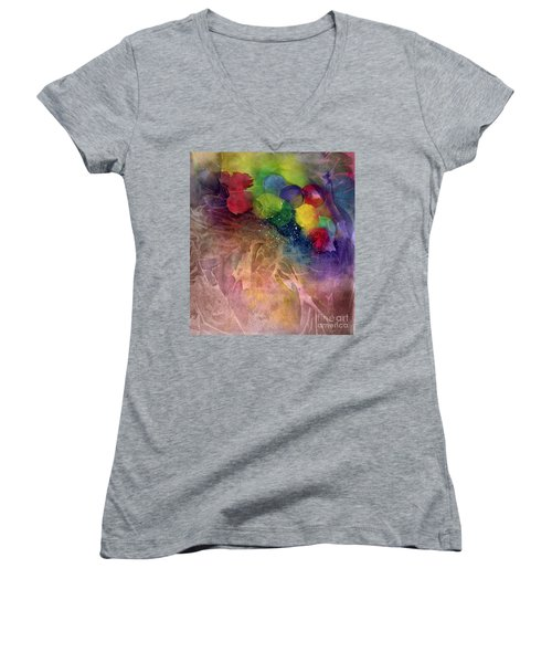 Women's V-Neck T-Shirt (Junior Cut) featuring the painting Earth Emerging by Allison Ashton