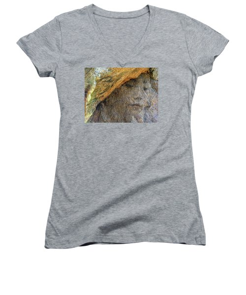 Women's V-Neck T-Shirt (Junior Cut) featuring the photograph Earth Memories-stone # 4 by Ed Hall