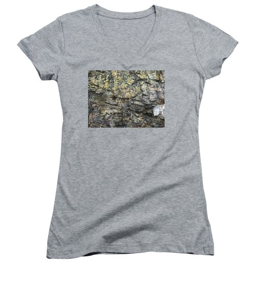 Women's V-Neck T-Shirt (Junior Cut) featuring the photograph Earth Memories - Stone # 6 by Ed Hall
