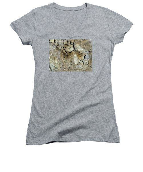 Women's V-Neck T-Shirt (Junior Cut) featuring the photograph Earth Memories-thirsty Earth by Ed Hall