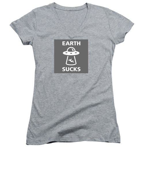 Women's V-Neck T-Shirt (Junior Cut) featuring the digital art Earth Sucks by Gina Dsgn