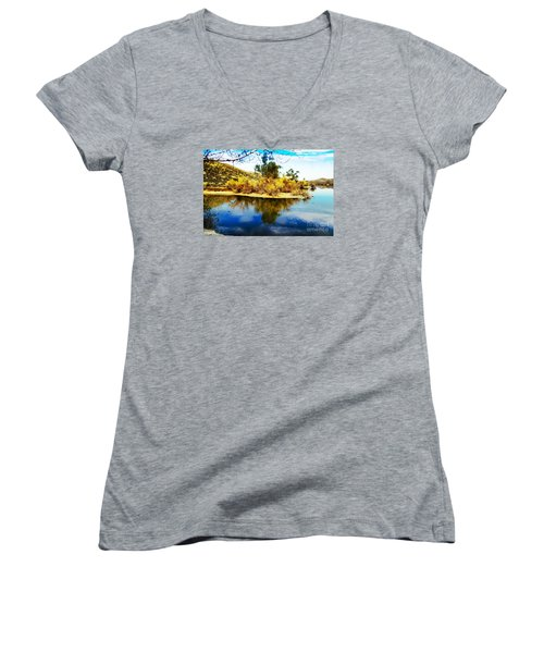 Women's V-Neck T-Shirt (Junior Cut) featuring the photograph East Bay, Canyon Lake, Ca by Rhonda Strickland