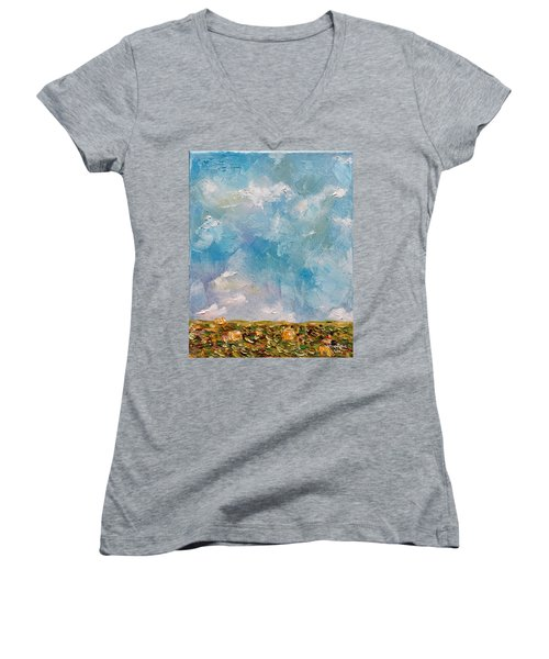Women's V-Neck T-Shirt featuring the painting East Field Seedlings by Judith Rhue