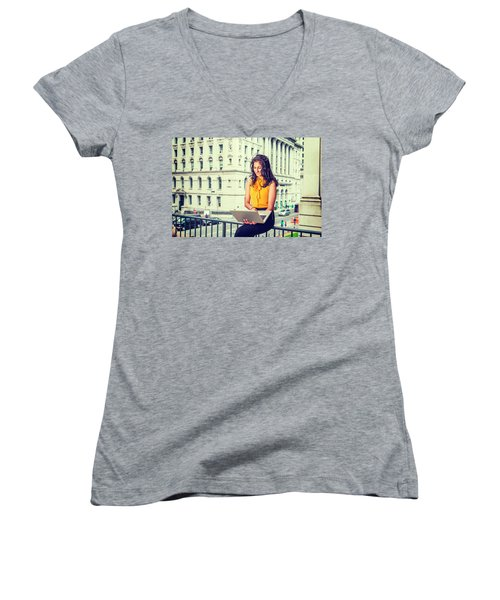 East Indian American Businesswoman In New York Women's V-Neck (Athletic Fit)