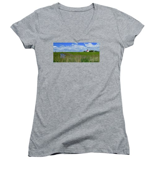 East Point Lighthouse Across The Marsh  Women's V-Neck T-Shirt (Junior Cut) by Nancy Patterson